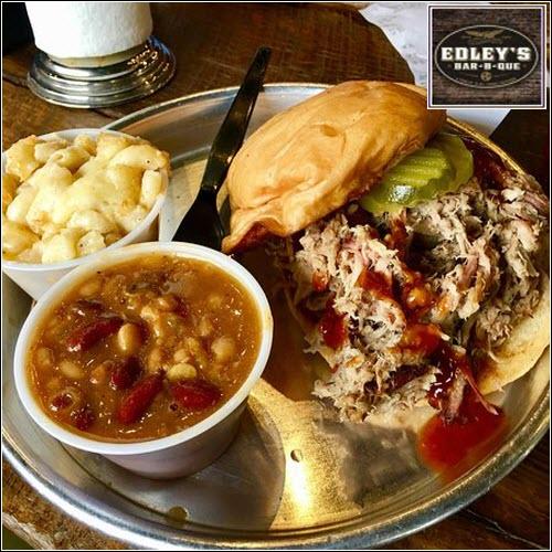 Edley's BBQ Sandwich with sides Nashville TN What's Cookin' Nashville